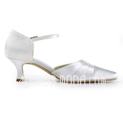 Vrouwen Satijn Chunky Heel Pumps (047011843)