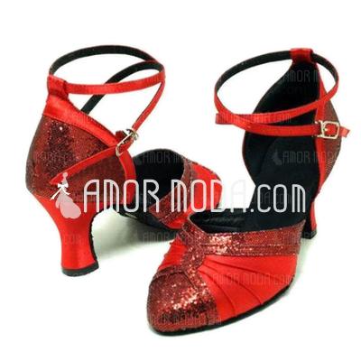 Vrouwen Satijn Sprankelende Glitter Hakken Pumps Ballroom Dansschoenen (053008916)