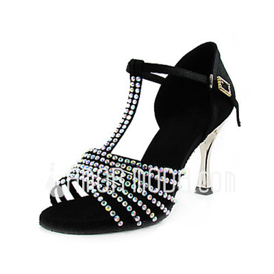 Vrouwen Satijn Hakken Sandalen Latijn Ballroom met Strass T-Riempjes Dansschoenen (053013456)