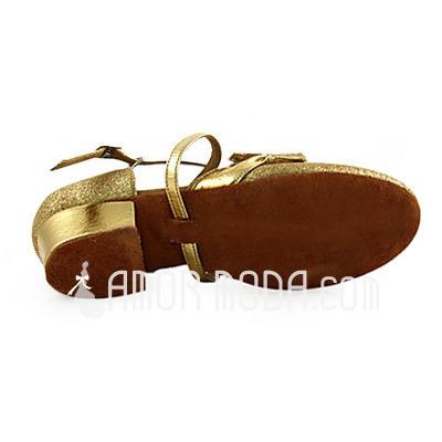 Frauen Kinder Kunstleder Funkelnde Glitzer Heels Flache Schuhe Absatzschuhe Moderne mit Des Bowknot Tanzschuhe (053013587)