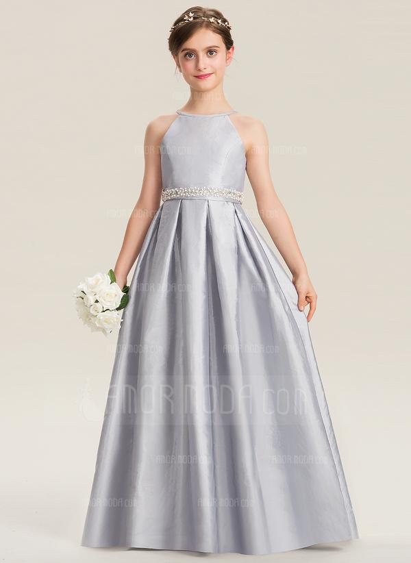 A-Linie U-Ausschnitt Bodenlang Taft Kleid für junge Brautjungfern mit Perlstickerei Schleife(n) (009173283)