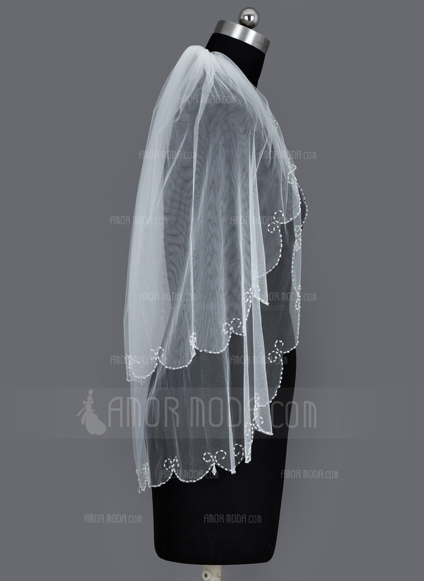 Zweischichtig Fingerspitze Braut Schleier mit Perlenbesetzter Saum (006034292)