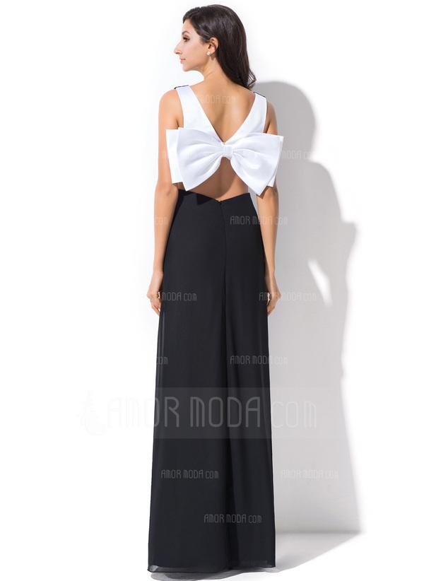 Etui-Linie V-Ausschnitt Bodenlang Chiffon Festliche Kleid mit Rüschen Schleife(n) (020055375)