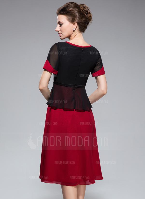 A-Linie/Princess-Linie U-Ausschnitt Knielang Chiffon Kleid für die Brautmutter mit Schleife(n) (008042832)