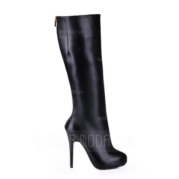 Imitatieleer Stiletto Heel Plateau Laarzen Knie Lengte Laarzen schoenen (088013828)