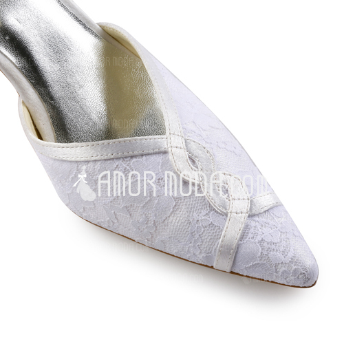 Kvinnor Spets Satäng STILETTKLACK Stängt Toe Pumps Slingbacks med Buckle Stitching Lace (047005365)