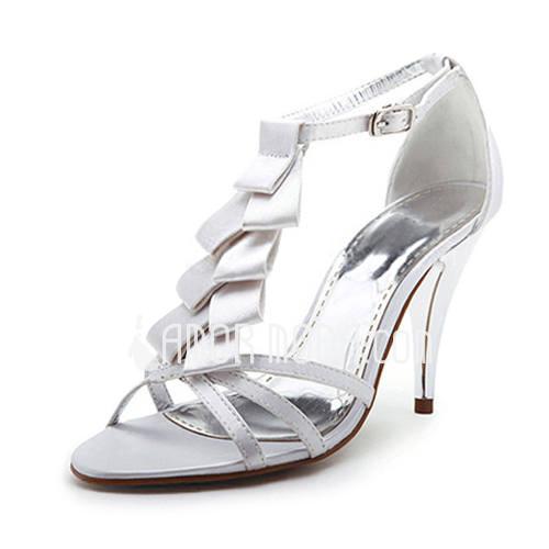 Vrouwen Satijn Stiletto Heel Peep Toe Sandalen met strik (047011833)