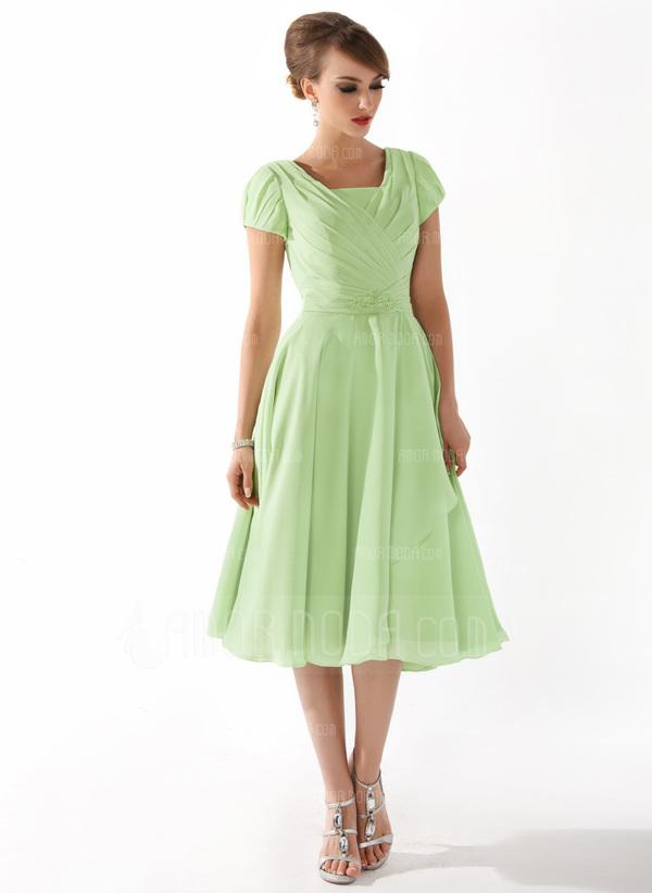 A-Linie/Princess-Linie Rechteckiger Ausschnitt Knielang Chiffon Kleid für die Brautmutter mit Rüschen Perlen verziert (008005918)