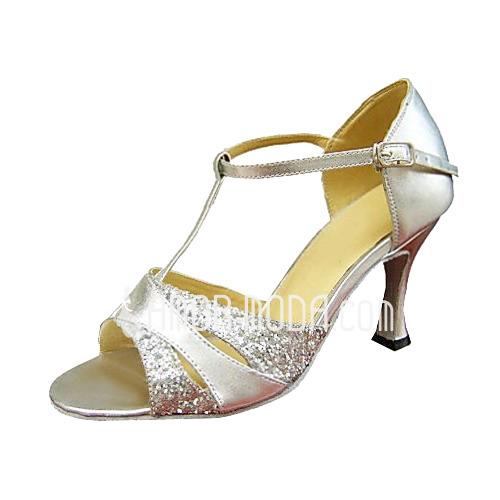 Vrouwen Kunstleer Sprankelende Glitter Hakken Sandalen Latijn Bruiloft Partij met T-Riempjes Dansschoenen (053013135)