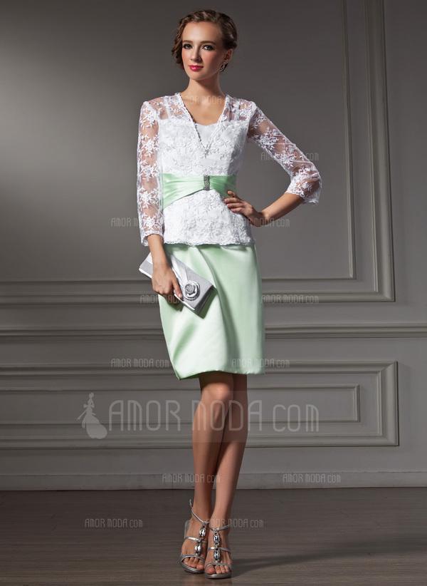 Etui-Linie Schatz Knielang Satin Spitze Kleid für die Brautmutter mit Perlstickerei (008006161)