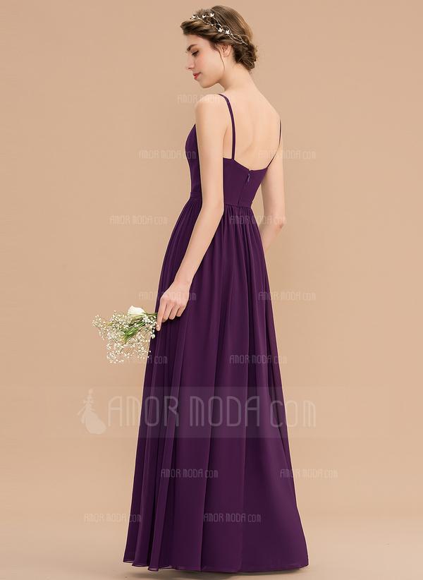 A-Linie V-Ausschnitt Bodenlang Chiffon Brautjungfernkleid mit Perlstickerei Pailletten Schlitz Vorn Taschen (007176755)