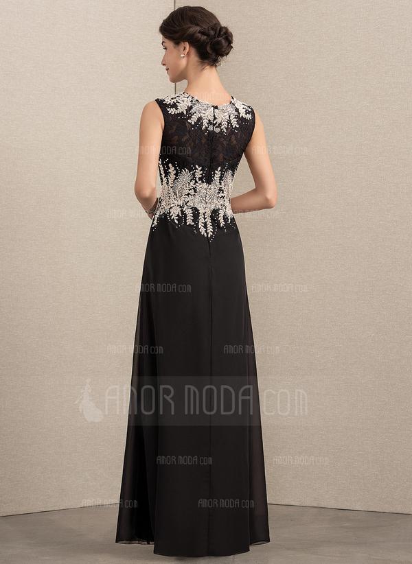 A-Linie/Princess-Linie U-Ausschnitt Bodenlang Chiffon Spitze Kleid für die Brautmutter mit Perlstickerei (008152145)
