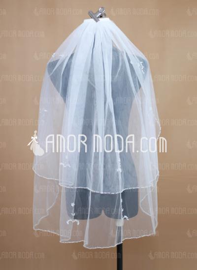 Zweischichtig Ellenbogen Braut Schleier mit Perlenbesetzter Saum (006034193)