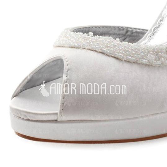 Women's Satin Cone Heel Peep Toe Platform Sandals With Sequin (047004931)