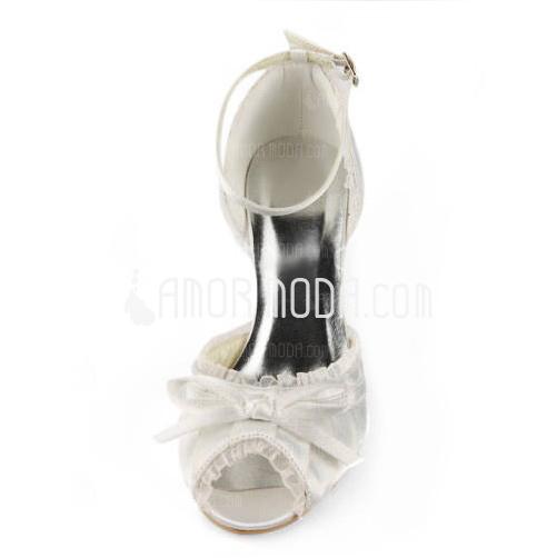 Kvinnor Satäng Stilettklack Sandaler med Fören Spänne Stitching Lace (047005497)