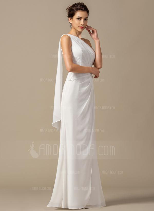 Forme Fourreau Seule-épaule Longueur ras du sol Mousseline Robe de demoiselle d'honneur avec Plissé (007068385)