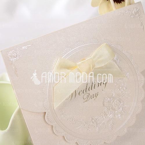 Stile classico Fold Top Invitation Cards con Nastri (Set di 50) (114032367)