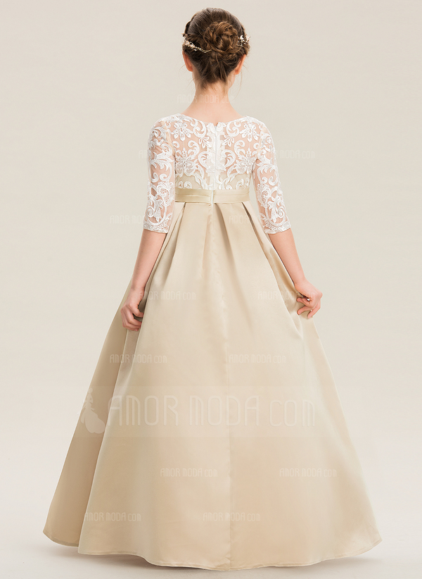 Ball-Gown/Princess Scoop Neck Floor-Length Satin Lace Junior Bridesmaid Dress (009173298)