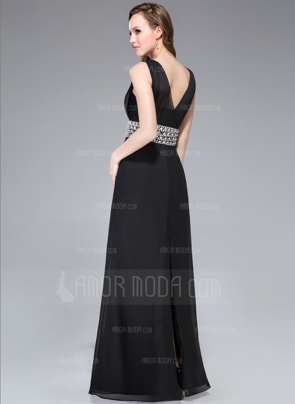 Etui-Linie V-Ausschnitt Bodenlang Chiffon Abendkleid mit Rüschen Perlen verziert (017045211)