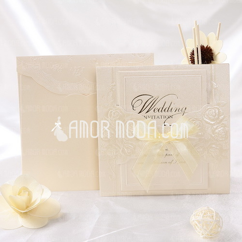 Stile classico Wrap & Pocket Invitation Cards con Nastri (Set di 10) (114032369)