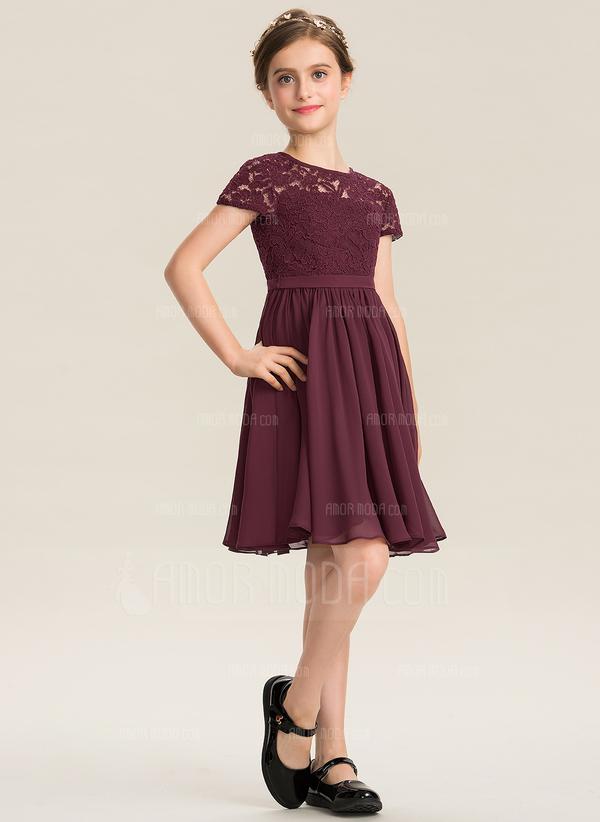A-Linie U-Ausschnitt Knielang Chiffon Spitze Kleid für junge Brautjungfern mit Schleife(n) (009173274)