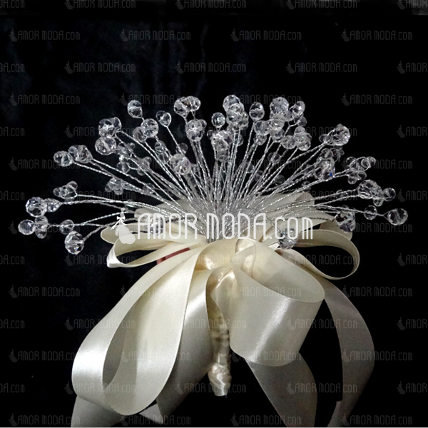 Elegant Round Satin/Crystal Bridesmaid Bouquets - (123031503)