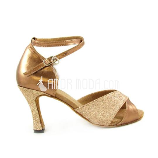 Vrouwen Kunstleer Sprankelende Glitter Hakken Sandalen Latijn Dansschoenen (053007248)