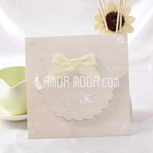 Classic Style Top Fold Invitation Cards With Ribbons (Set of 50) (114032367)