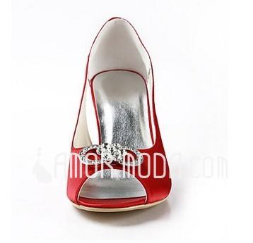 Vrouwen Satijn Stiletto Heel Peep Toe Sandalen met Bergkristal (047011841)