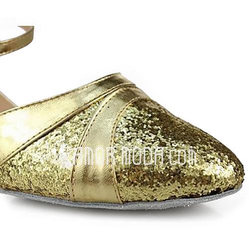 Vrouwen Kunstleer Sprankelende Glitter Hakken Pumps Moderne met Enkelriempje Dansschoenen (053013200)