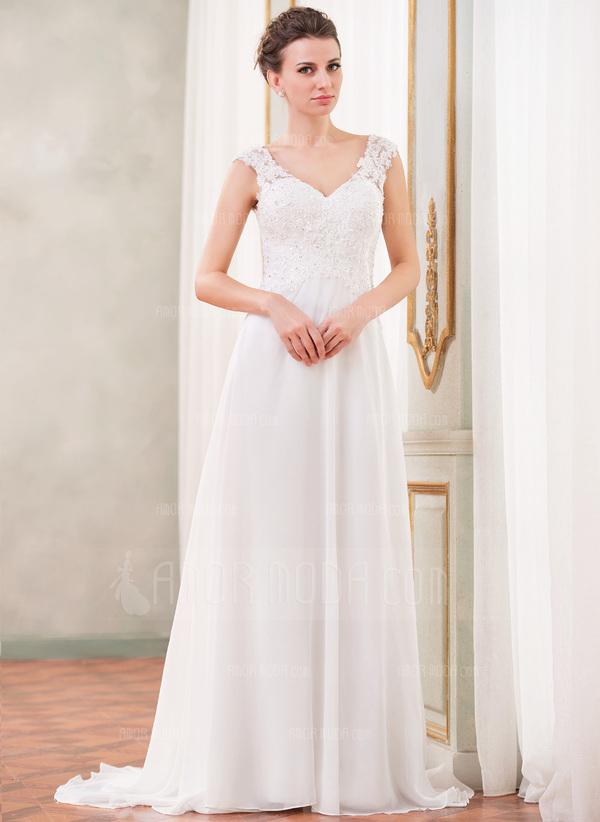A-Linie/Princess-Linie V-Ausschnitt Sweep/Pinsel zug Chiffon Brautkleid mit Spitze Perlen verziert Pailletten (002042294)
