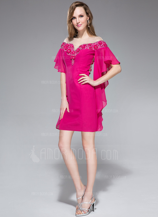 Forme Fourreau Hors-la-épaule Court/Mini Mousseline Robe de vacances avec Brodé Fleur(s) Robe à volants (020045154)