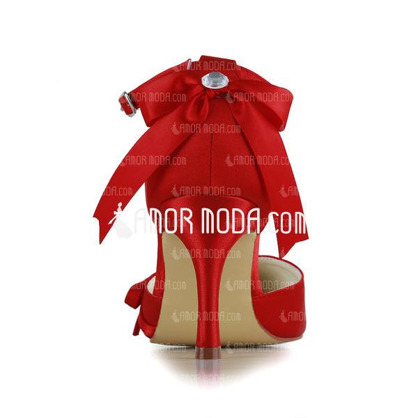 Vrouwen Satijn Stiletto Heel Closed Toe Pumps met Strik Gesp (047005112)