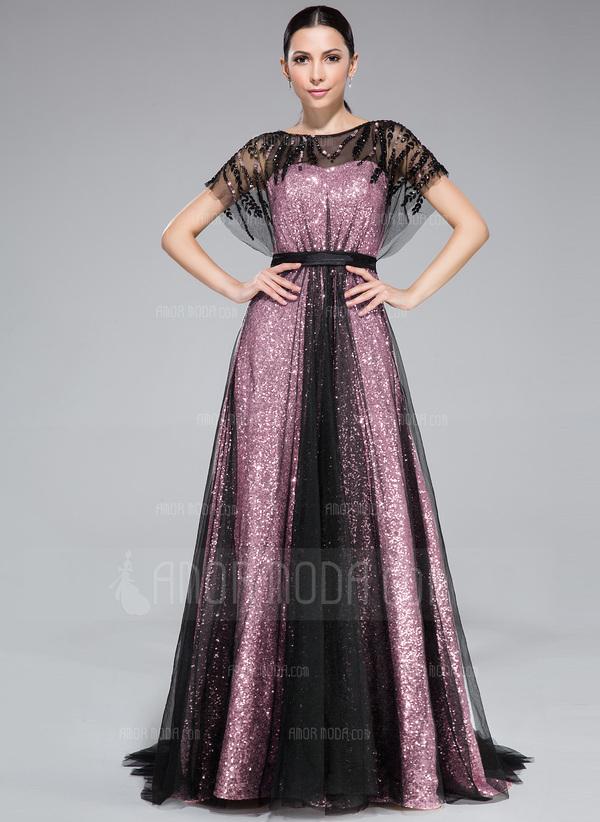 A-Linie/Princess-Linie U-Ausschnitt Sweep/Pinsel zug Tüll Pailletten Abendkleid mit Rüschen Perlstickerei (017046262)