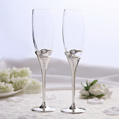Ringe Entwurf Bleifreies Glas Toasten Flöten (Satz Von 2) (126051242)