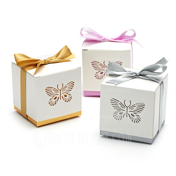 Schmetterling Laser-Cut Quader Geschenkboxen mit Bänder (Satz von 12) (050013596)