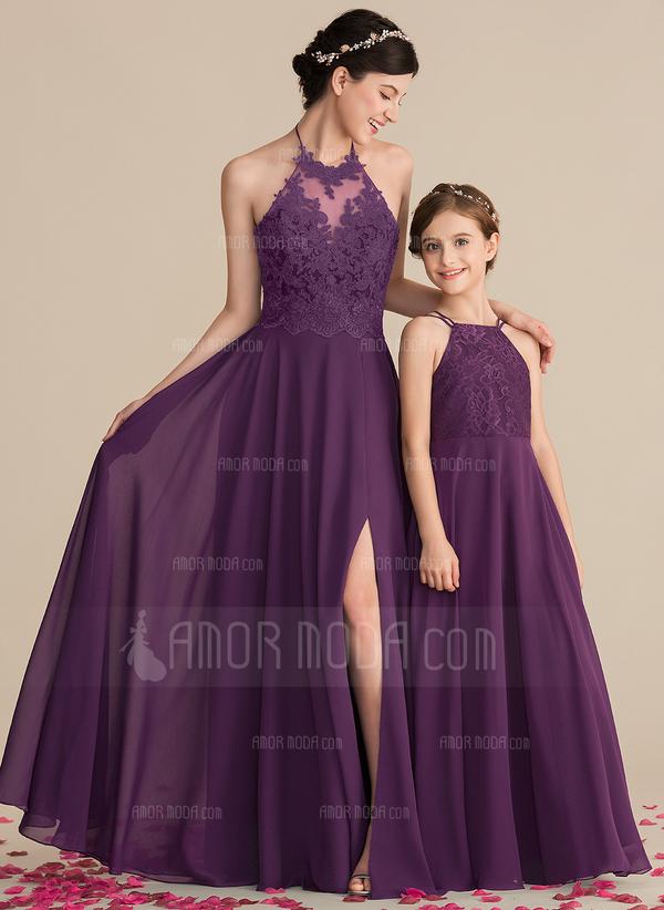 A-Linie/Princess-Linie Rechteckiger Ausschnitt Bodenlang Chiffon Spitze Kleid für junge Brautjungfern (009165027)