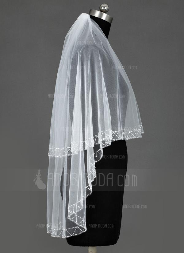 Zweischichtig Walzer Braut Schleier mit Perlenbesetzter Saum/Paillettenverzierung Kanten (006035447)