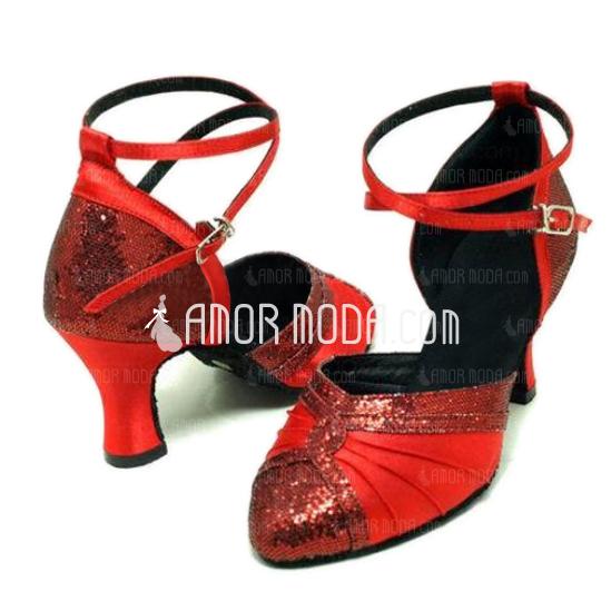 Femmes Satiné Pailletes scintillantes Talons Escarpins Moderne Salle de bal Chaussures de danse (053008916)