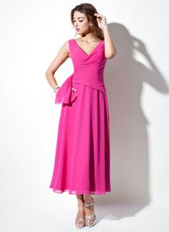 A-Linie/Princess-Linie V-Ausschnitt Wadenlang Chiffon Brautjungfernkleid mit Rüschen (007001120)