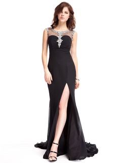 Trumpet/Mermaid Scoop Neck Watteau Train Chiffon Evening Dress With Beading Split Front (017022823)