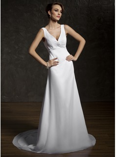 A-Line/Princess V-neck Court Train Chiffon Wedding Dress With Ruffle Lace Beading (002011583)