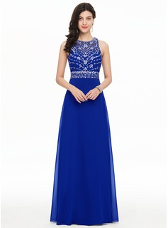 A-Line/Princess Scoop Neck Floor-Length Chiffon Prom Dresses With Beading Sequins (018112764)