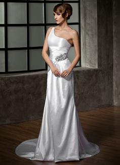 Forme Fourreau Encolure asymétrique Traîne courte Charmeuse Robe de mariée avec Plissé Emperler (002011919)