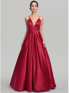 Ball-Gown V-neck Floor-Length Satin Evening Dress (017137361)