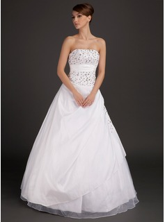 Ball-Gown Strapless Floor-Length Taffeta Organza Wedding Dress With Lace Beading (002015491)