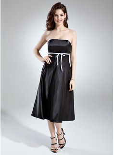 Empire Strapless Tea-Length Charmeuse Bridesmaid Dress With Sash (007020745)