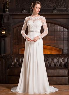 Forme Princesse Col rond Traîne moyenne Mousseline Dentelle Robe de mariée avec Plissé Emperler Sequins (002056220)