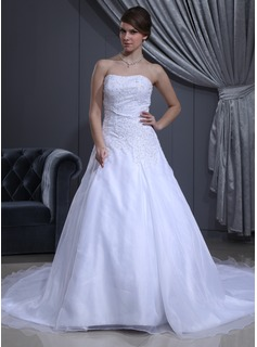 A-Line/Princess Sweetheart Cathedral Train Organza Satin Wedding Dress With Beading (002011981)