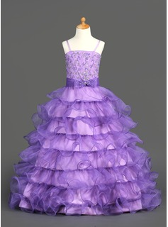 Ball Gown Floor-length Flower Girl Dress - Organza/Satin Sleeveless Shoulder straps With Ruffles/Beading/Sequins (010002153)